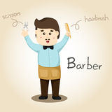 Illustrator of Barber alphabet Profession. Letter B Stock Image
