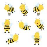 Illustrator of bees funny cartoon vector illustration