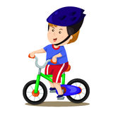Illustrator of boy and bike two Royalty Free Stock Images