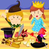 Illustrator boy and girl play hat and cap Stock Images