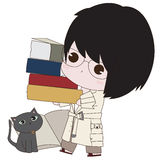 Illustrator of a Boy With his Books Stock Images