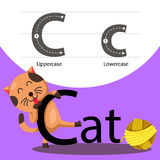 Illustrator of cat with c font Royalty Free Stock Photos