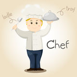 Illustrator of Chef alphabet Profession. Letter C Stock Images