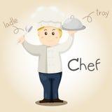 Illustrator of Chef alphabet Profession. Letter C Stock Images