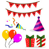Illustrator of Christmas and Party Set Stock Images