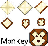 Illustrator of monkey origami Royalty Free Stock Image