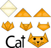 Illustrator of cat origami. Animal vector illustration