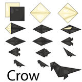 Illustrator of Crow origami. Amimal Stock Photo