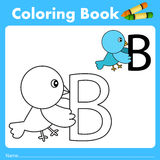 Illustrator of color book with bird animal Stock Photo