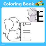 Illustrator of color book with elephant animal Stock Photo