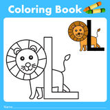 Illustrator of color book with lion animal Stock Photos