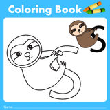 Illustrator of color book with sloth animal Royalty Free Stock Images