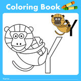 Illustrator of color book with yellow baboon animal Stock Image
