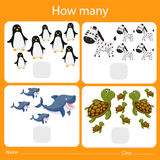 Illustrator of counting how many animal Royalty Free Stock Images