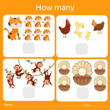 Illustrator of counting how many animal. For kid Stock Photography