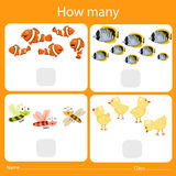 Illustrator of counting how many animal two Stock Photos