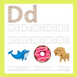 Illustrator of d exercise A-Z cartoon vocabulary. For kid Royalty Free Stock Photography