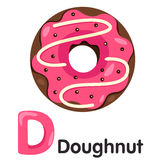 Illustrator of  D font with donut Royalty Free Stock Photo