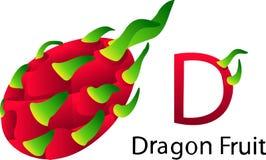 Illustrator d font with dragon fruit. Vegetables Stock Image