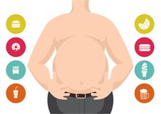 The Dangers of Belly Fat. Obese Man in Jeans Squeeze the Belly Fat. and junkfood. Illustrator-The Dangers of Belly Fat. Obese Man in Jeans Squeeze the Belly Fat Stock Photos