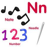 Illustrator del alfabeto de N Foto de archivo libre de regalías