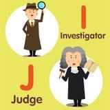 Illustrator del investigador y del juez profesionales del carácter ilustración del vector