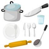 Illustrator des Küchengeschirrs mit Tonware und Küche Stockfoto