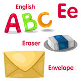 Illustrator of E alphabet. With english eraser envelop royalty free illustration