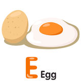Illustrator of E font with egg Stock Photography