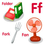 Illustrator of f alphabet. With folder fork fan vector illustration