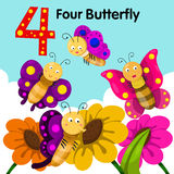Illustrator of four butterfly Royalty Free Stock Photo