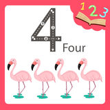 Illustrator of four number animal. For education vector illustration