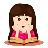 Illustrator of girl reading a book Stock Photography