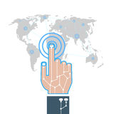 Illustrator-hand touch gesture on futuristic technology design element represent multitouch technology. Hand touch gesture on futuristic technology design Royalty Free Stock Photography
