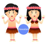 Illustrator of Hawaiian Boy and Girl vector isolated on white background Royalty Free Stock Photo
