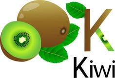 Illustrator k font with kiwi Stock Photo
