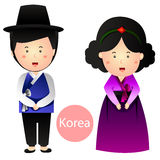 Illustrator of Korea Boy and Girl vector isolated on white background Royalty Free Stock Photos