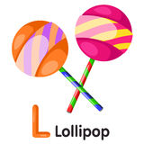 Illustrator of L font with lollipop Royalty Free Stock Images