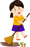 Illustrator of leafs sweep girl Stock Photography