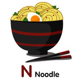 Illustrator of N font with noodle Stock Photo