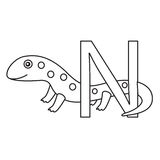Illustrator of n newt. Isolated Stock Image