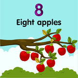 Illustrator of number eight apples Royalty Free Stock Photo