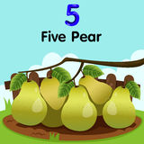 Illustrator of number five with pear Stock Photography