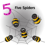 Illustrator of number five spiders. Cute Royalty Free Stock Image