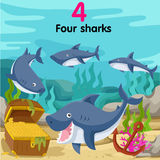 Illustrator of number with four sharks. On the sea Stock Image