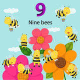 Illustrator of number nine bees. And flower royalty free illustration
