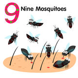 Illustrator of number nine mosquitoes Royalty Free Stock Photos