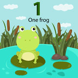 Illustrator of number one frog Royalty Free Stock Photography