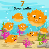 Illustrator of number with seven puffer Royalty Free Stock Photography