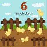 Illustrator of number six chickens. On farm royalty free illustration